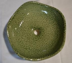 4. green speckled round x2